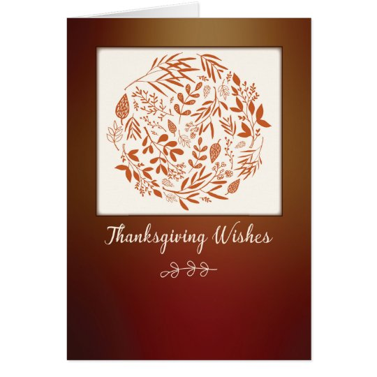 Thanksgiving Business Wreath leaves Card