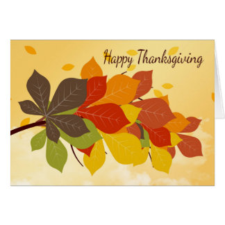 Thanksgiving Card With Fall / Autumn Leaves
