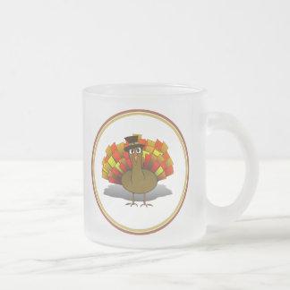 Thanksgiving Cartoon Turkey Pilgrim Frosted Glass Mug