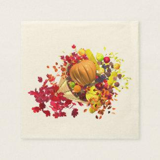 Thanksgiving Cornucopia Disposable Serviette