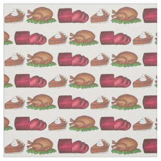 Thanksgiving Dinner Cranberry Turkey Pie Fabric