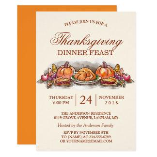 Thanksgiving Dinner Feast with Turkey Pumpkin 13 Cm X 18 Cm Invitation Card