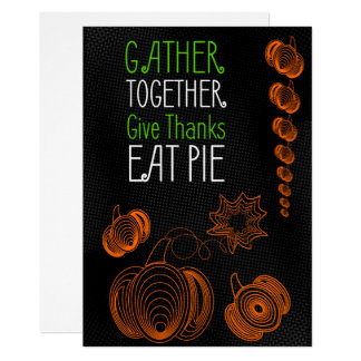 Thanksgiving dinner party invitation with pumpkins