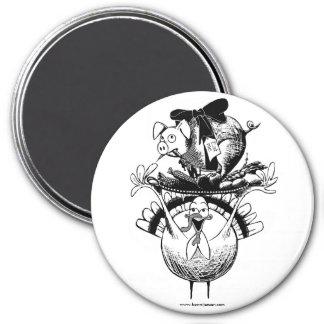 Thanksgiving feast 7.5 cm round magnet