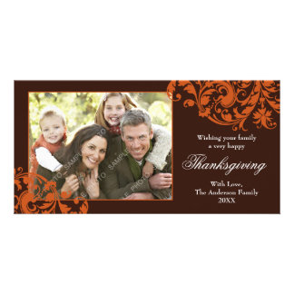 Thanksgiving Flourish Swirls Orange and Brown Photo Card