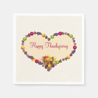 Thanksgiving Heart and Cornucopia Paper Serviettes