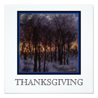 Thanksgiving invitaion. Beautiful golden sunset. Card