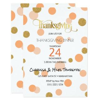 Thanksgiving Orange & Gold Dots Modern 13 Cm X 18 Cm Invitation Card