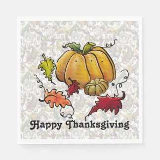 """Thanksgiving Pumpkin"" — Standard Luncheon Napkin Disposable Napkins"