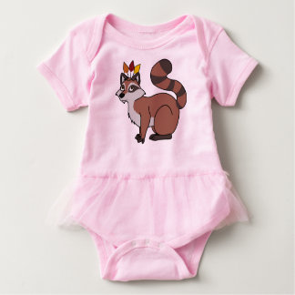 Thanksgiving Red Raccoon with Indian Headdress Baby Bodysuit