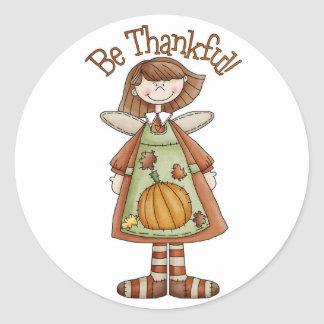 Thanksgiving Stickers/Be Thankful Country Girl Classic Round Sticker