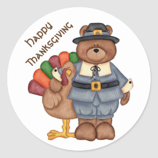 Thanksgiving Stickers/Pilgrim Bear and Turkey Classic Round Sticker
