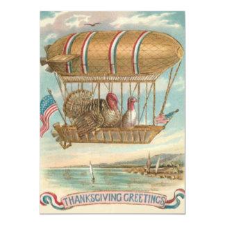 Thanksgiving Turkey Hot Air Balloon US Flag Card
