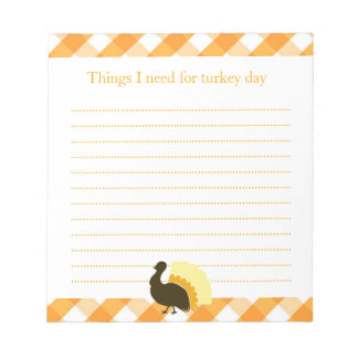 Thanksgiving turkey orange gingham shopping list notepads