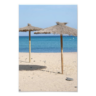 Thatch Beach Umbrellas Photograph