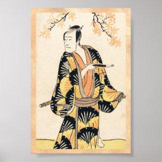 The Actor Ichikawa Komazo Holding a Smoking Pipe Poster