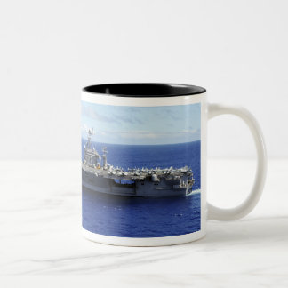 The aircraft carrier USS Abraham Lincoln 2 Two-Tone Coffee Mug