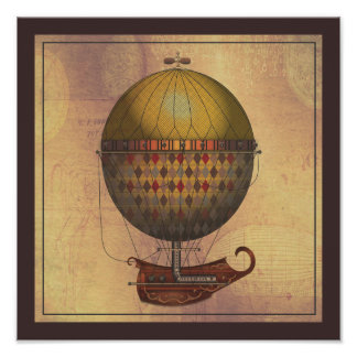 The Airship Nautisme Steampunk Flying Machine Poster