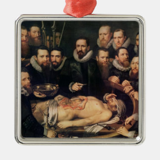 The Anatomy Lesson of Doctor Willem van der Silver-Colored Square Decoration
