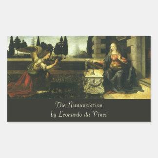 The Annunciation by Leonardo da Vinci Rectangular Sticker