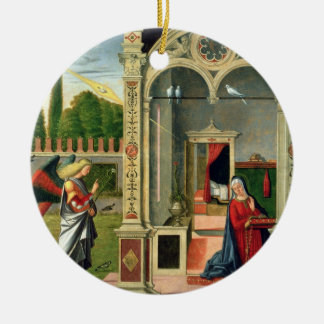 The Annunciation (oil on panel) 2 Christmas Ornament