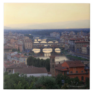 The Arno River and Ponte Vecchio in Florence, Tile