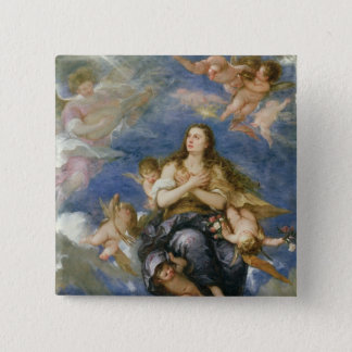 The Assumption of Mary Magdalene (oil on canvas) 15 Cm Square Badge