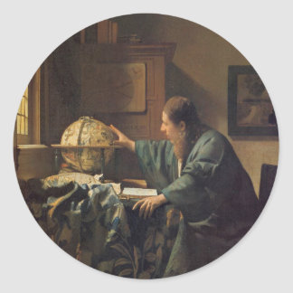 The Astronomer by Johannes Vermeer Classic Round Sticker