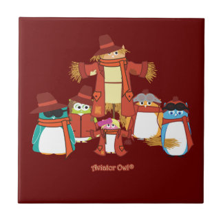 The Aviator Owls and a Scarecrow Tile