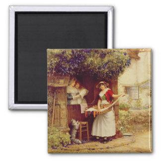 The Ballad Seller, 1902 (oil on board) Square Magnet