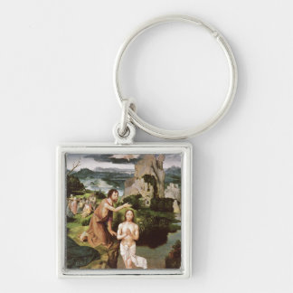 The Baptism of Christ, c.1515 Silver-Colored Square Key Ring