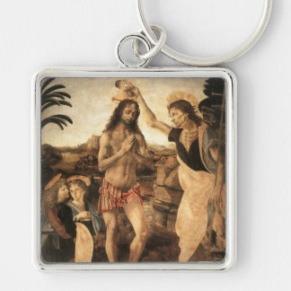 'The Baptism of Christ' Silver-Colored Square Key Ring