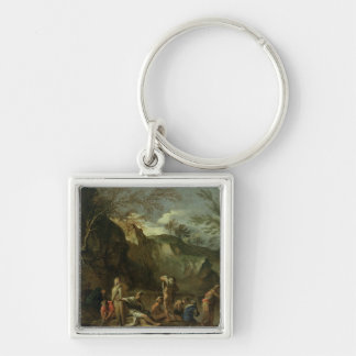 The Baptism of Christ Silver-Colored Square Key Ring