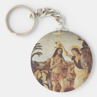 The Baptism of Christ (Verrocchio) Basic Round Button Key Ring