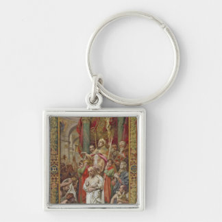 The Baptism of Clovis I Silver-Colored Square Key Ring