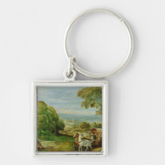 The Baptism of the Ethiopian Eunuch Silver-Colored Square Key Ring