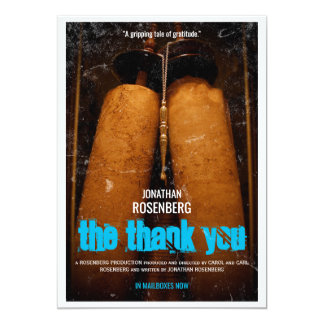 The Bar Mitzvah Movie Thank You 13 Cm X 18 Cm Invitation Card