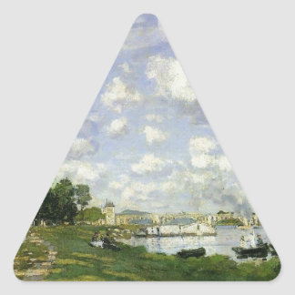The Basin at Argenteuil by Claude Monet Triangle Sticker