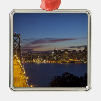 The Bay Bridge from Treasure Island 2 Silver-Colored Square Decoration