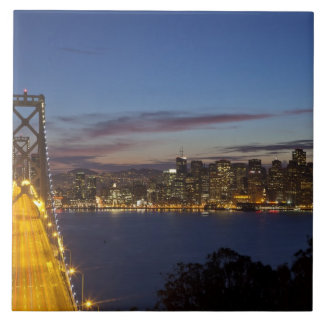 The Bay Bridge from Treasure Island 2 Large Square Tile