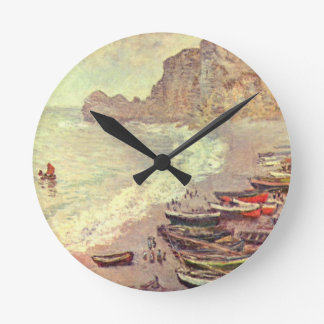The Beach at Etretat - Claude Monet Round Clock