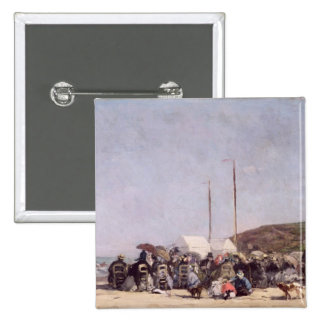 The Beach at Trouville, 1864 15 Cm Square Badge