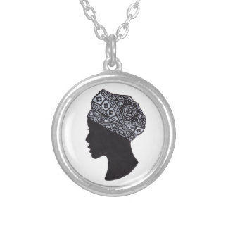 The Beauty of African Woman Silhouette Round Pendant Necklace