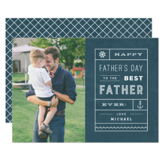 The Best Father Father's Day Card - Navy 13 Cm X 18 Cm Invitation Card