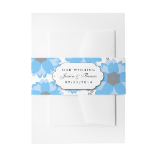 The Blue Blossom Wedding Collection Invitation Belly Band