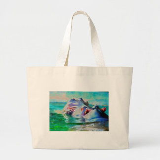 The blue Hippo Large Tote Bag