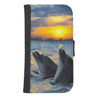 The bottle-nosed dolphins in sunset light samsung s4 wallet case