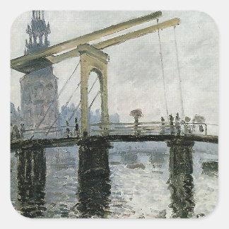 The Bridge, Amsterdam by Claude Monet Square Sticker
