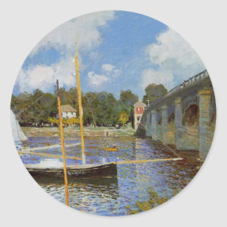 The Bridge at Argenteuil by Claude Monet Classic Round Sticker