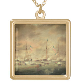 The British and American Fleets Engaged on Lake Bo Square Pendant Necklace
